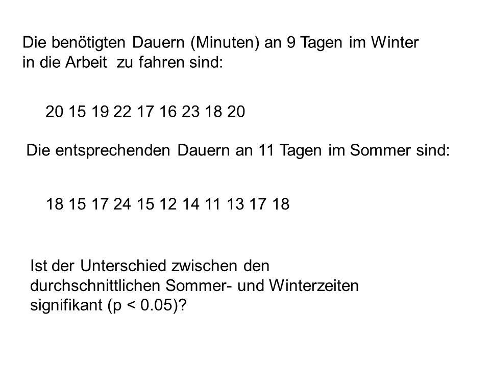 Die benötigten Dauern (Minuten) an 9 Tagen im Winter in die Arbeit zu fahren sind: 20 15 19 22 17 16 23 18 20 Die entsprechenden Dauern an 11 Tagen im Sommer sind: 18 15 17 24 15 12 14 11 13 17 18 Ist der Unterschied zwischen den durchschnittlichen Sommer- und Winterzeiten signifikant (p < 0.05)