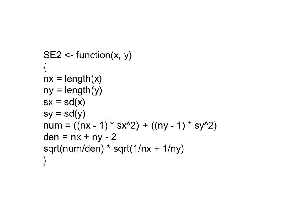 SE2 <- function(x, y) { nx = length(x) ny = length(y) sx = sd(x) sy = sd(y) num = ((nx - 1) * sx^2) + ((ny - 1) * sy^2) den = nx + ny - 2 sqrt(num/den) * sqrt(1/nx + 1/ny) }