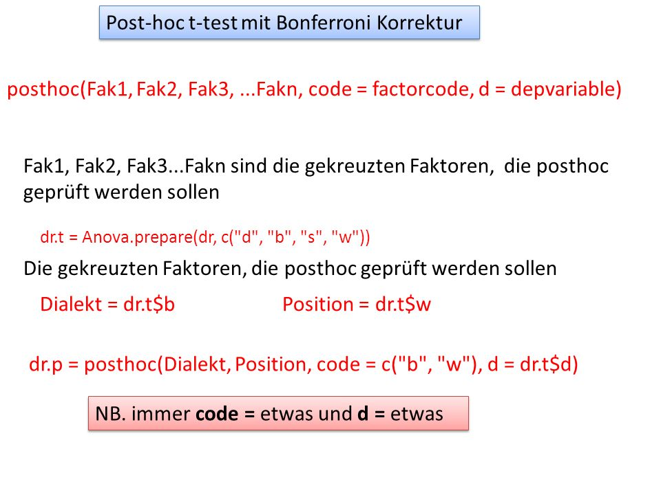 Post-hoc t-test mit Bonferroni Korrektur posthoc(Fak1, Fak2, Fak3,...Fakn, code = factorcode, d = depvariable) Fak1, Fak2, Fak3...Fakn sind die gekreuzten Faktoren, die posthoc geprüft werden sollen dr.p = posthoc(Dialekt, Position, code = c( b , w ), d = dr.t$d) NB.
