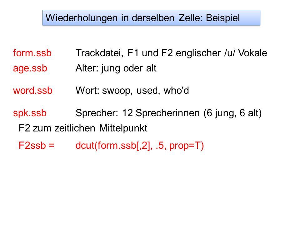 form.ssb age.ssb Trackdatei, F1 und F2 englischer /u/ Vokale Alter: jung oder alt word.ssbWort: swoop, used, who d spk.ssbSprecher: 12 Sprecherinnen (6 jung, 6 alt) dcut(form.ssb[,2],.5, prop=T)F2ssb = F2 zum zeitlichen Mittelpunkt Wiederholungen in derselben Zelle: Beispiel