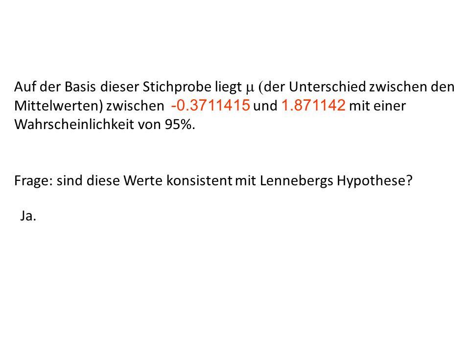 Auf der Basis dieser Stichprobe liegt der Unterschied zwischen den Mittelwerten) zwischen -0.3711415 und 1.871142 mit einer Wahrscheinlichkeit von 95%.