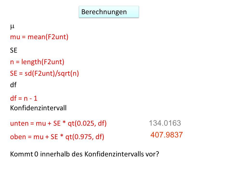 mu = mean(F2unt) n = length(F2unt) SE = sd(F2unt)/sqrt(n) df = n - 1 unten = mu + SE * qt(0.025, df) oben = mu + SE * qt(0.975, df) 134.0163 407.9837 Kommt 0 innerhalb des Konfidenzintervalls vor.