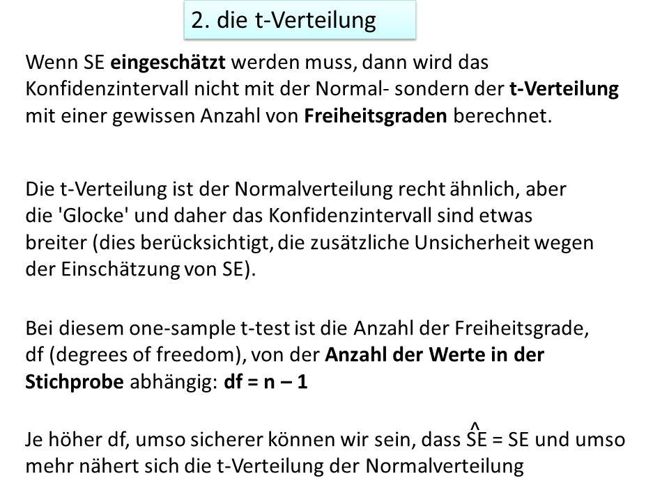 2. die t-Verteilung Wenn SE eingeschätzt werden muss, dann wird das Konfidenzintervall nicht mit der Normal- sondern der t-Verteilung mit einer gewiss