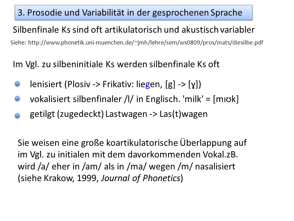 3. Prosodie und Variabilität in der gesprochenen Sprache Silbenfinale Ks sind oft artikulatorisch und akustisch variabler Sie weisen eine große koarti