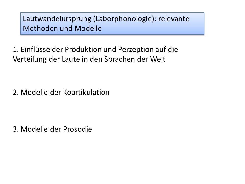 Lautwandelursprung (Laborphonologie): relevante Methoden und Modelle 1.
