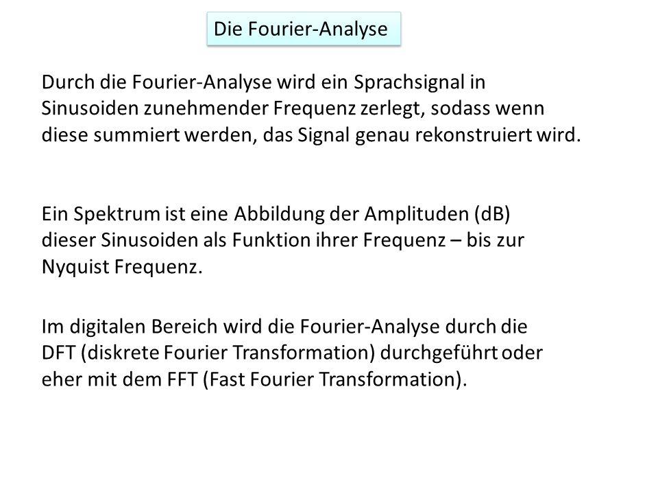 Die Fourier-Analyse Durch die Fourier-Analyse wird ein Sprachsignal in Sinusoiden zunehmender Frequenz zerlegt, sodass wenn diese summiert werden, das
