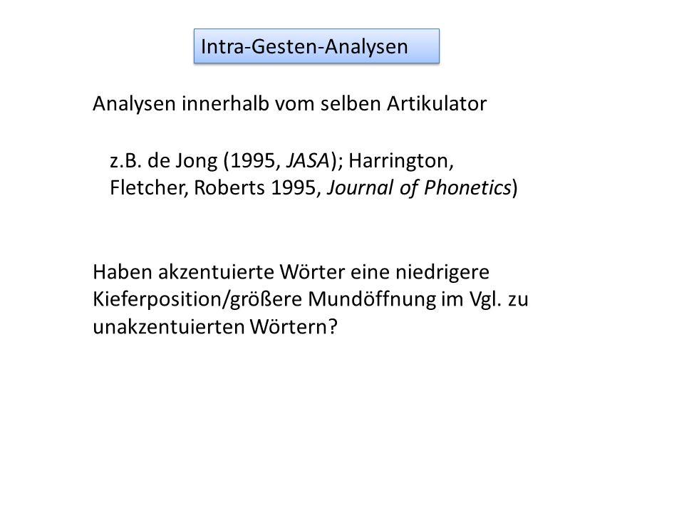 Intra-Gesten-Analysen Haben akzentuierte Wörter eine niedrigere Kieferposition/größere Mundöffnung im Vgl. zu unakzentuierten Wörtern? z.B. de Jong (1