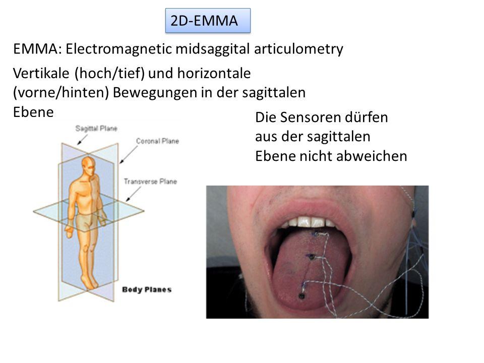 2D-EMMA EMMA: Electromagnetic midsaggital articulometry Vertikale (hoch/tief) und horizontale (vorne/hinten) Bewegungen in der sagittalen Ebene Die Se