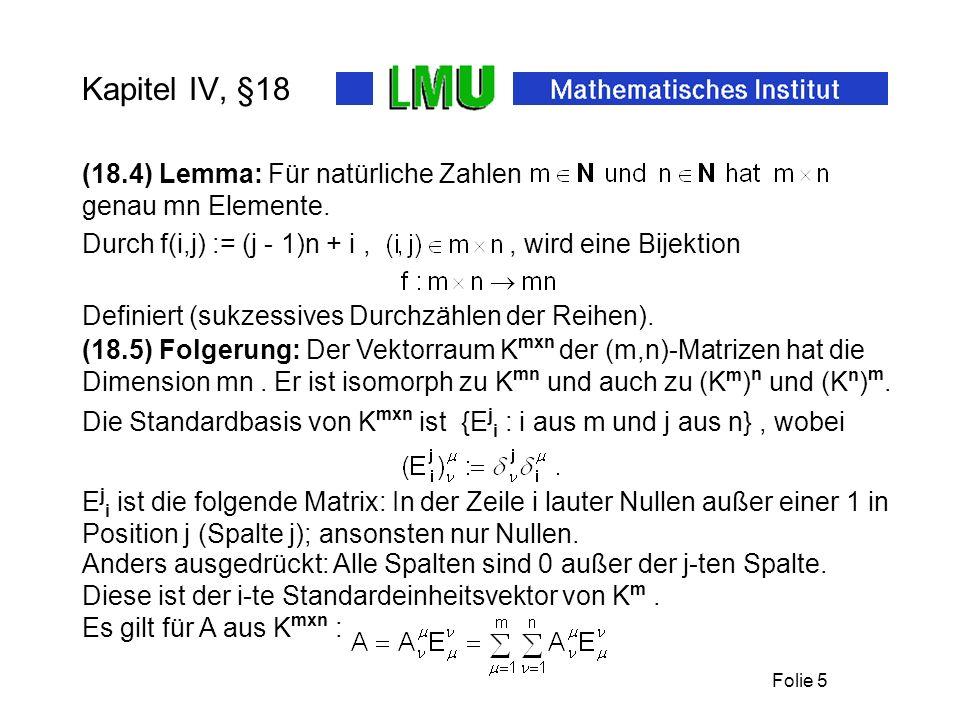 Folie 5 Kapitel IV, §18 Definiert (sukzessives Durchzählen der Reihen).