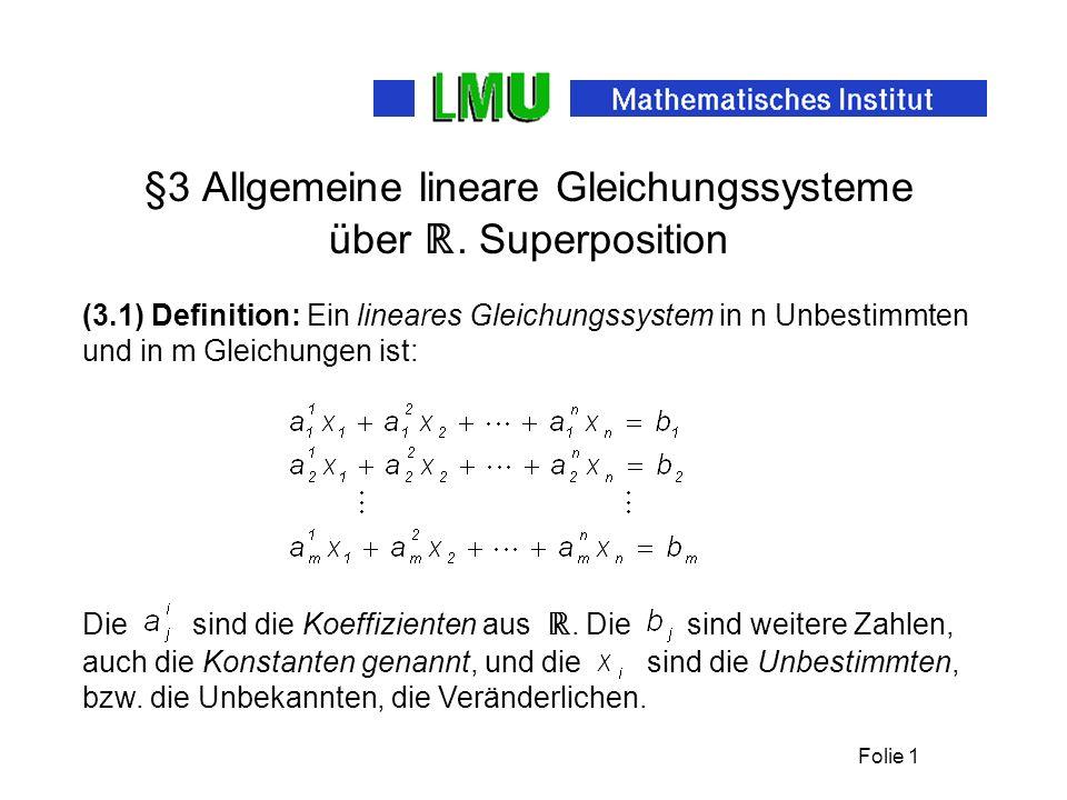 Folie 1 §3 Allgemeine lineare Gleichungssysteme über.