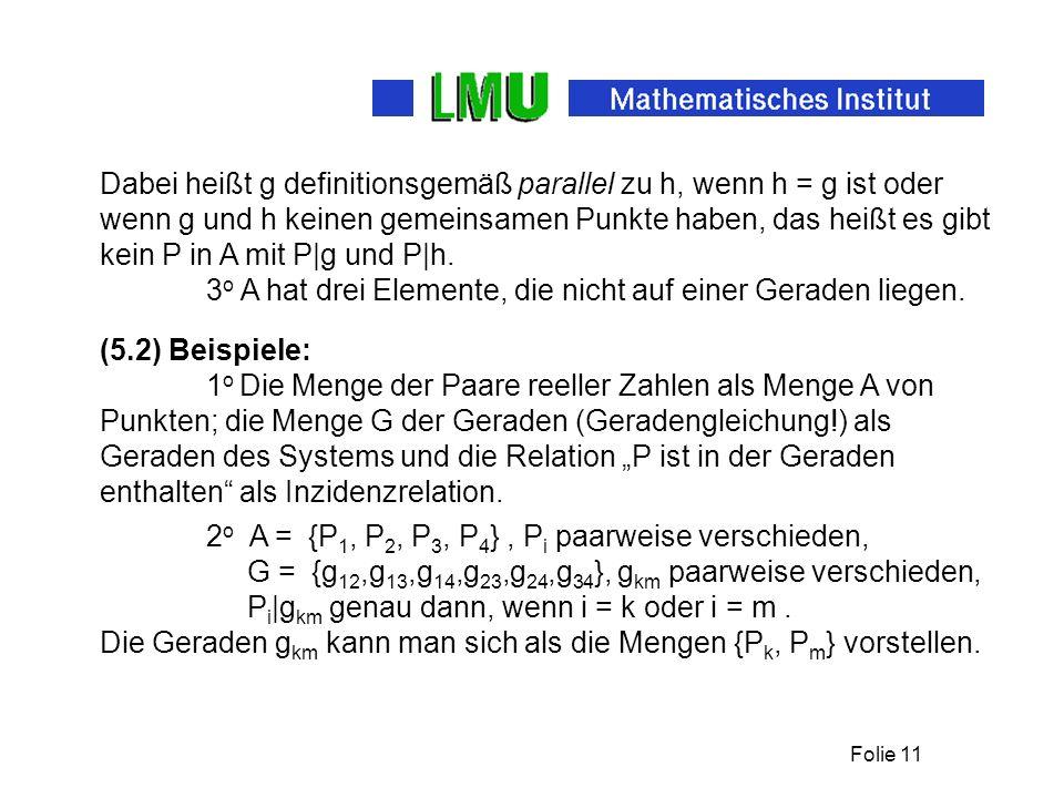 Folie 11 Dabei heißt g definitionsgemäß parallel zu h, wenn h = g ist oder wenn g und h keinen gemeinsamen Punkte haben, das heißt es gibt kein P in A mit P|g und P|h.