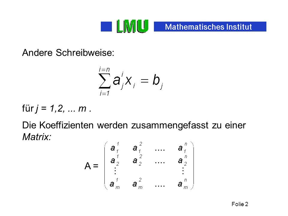 Folie 2 Andere Schreibweise: Die Koeffizienten werden zusammengefasst zu einer Matrix: für j = 1,2,...