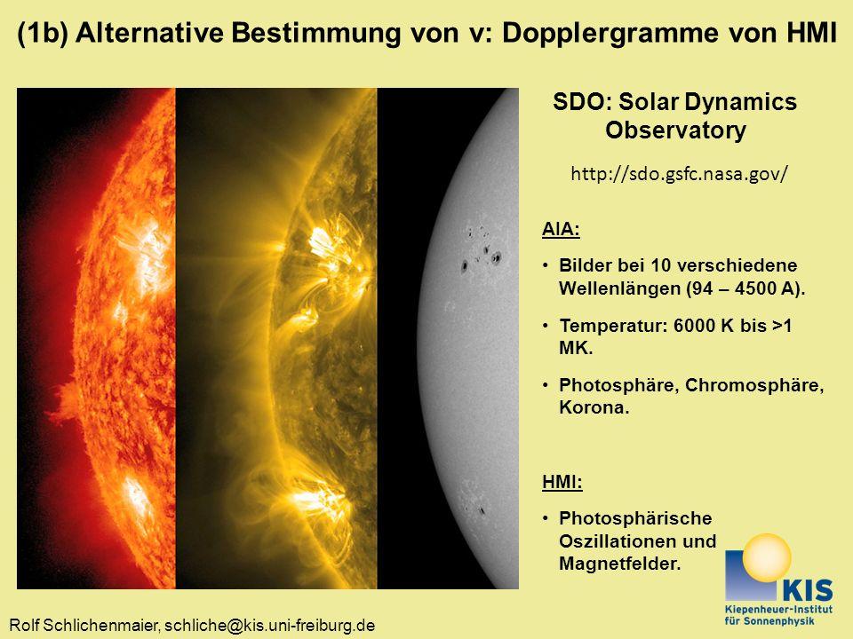 Rolf Schlichenmaier, schliche@kis.uni-freiburg.de SDO: Solar Dynamics Observatory http://sdo.gsfc.nasa.gov/ AIA: Bilder bei 10 verschiedene Wellenlängen (94 – 4500 A).