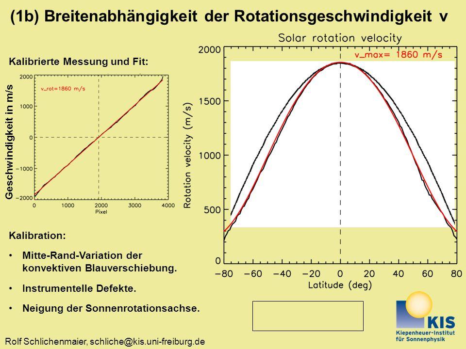 Rolf Schlichenmaier, schliche@kis.uni-freiburg.de (1b) Breitenabhängigkeit der Rotationsgeschwindigkeit v Kalibrierte Messung und Fit: Geschwindigkeit in m/s Kalibration: Mitte-Rand-Variation der konvektiven Blauverschiebung.