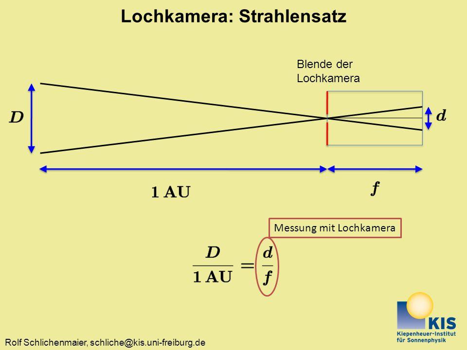 Rolf Schlichenmaier, schliche@kis.uni-freiburg.de Lochkamera: Strahlensatz Blende der Lochkamera Messung mit Lochkamera