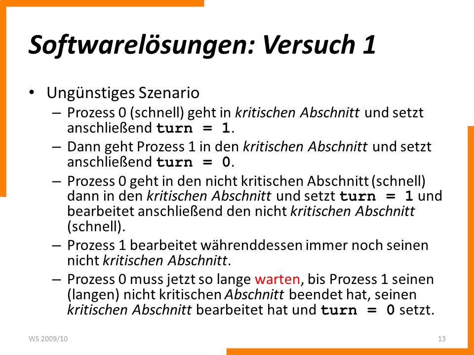 Softwarelösungen: Versuch 1 Ungünstiges Szenario – Prozess 0 (schnell) geht in kritischen Abschnitt und setzt anschließend turn = 1. – Dann geht Proze