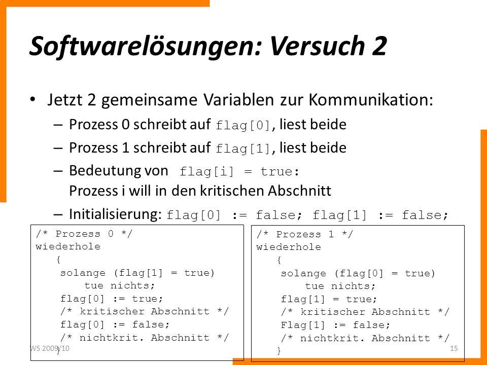 Softwarelösungen: Versuch 2 Jetzt 2 gemeinsame Variablen zur Kommunikation: – Prozess 0 schreibt auf flag[0], liest beide – Prozess 1 schreibt auf fla