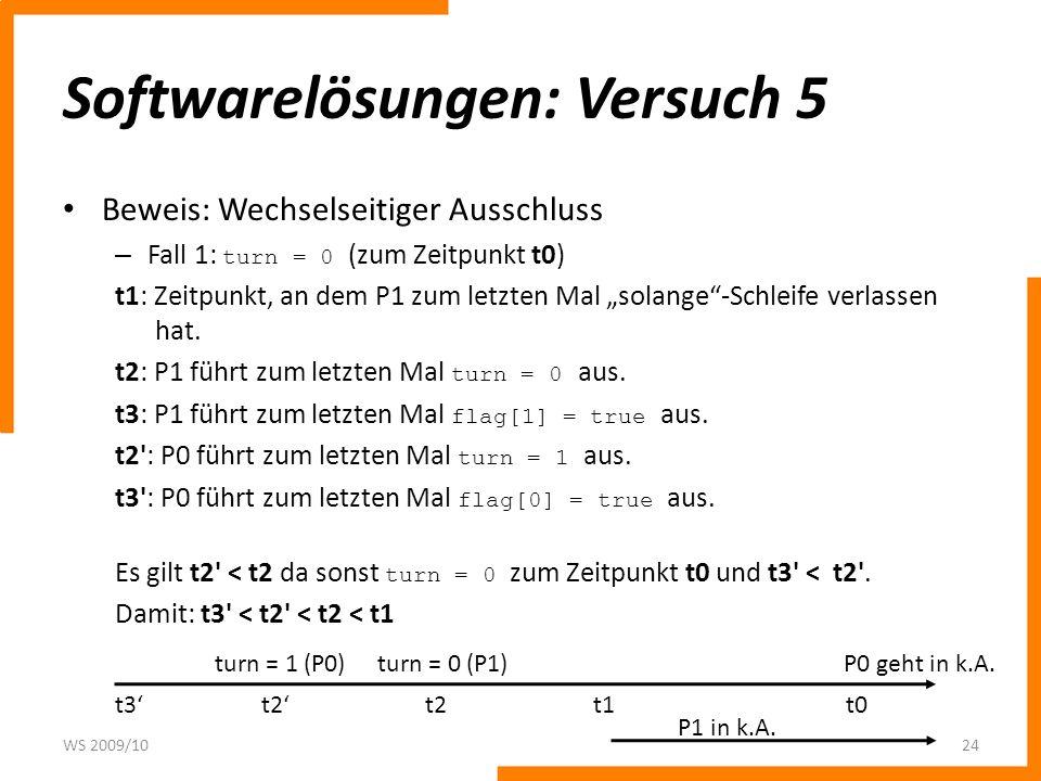 Softwarelösungen: Versuch 5 Beweis: Wechselseitiger Ausschluss – Fall 1: turn = 0 (zum Zeitpunkt t0) t1: Zeitpunkt, an dem P1 zum letzten Mal solange-