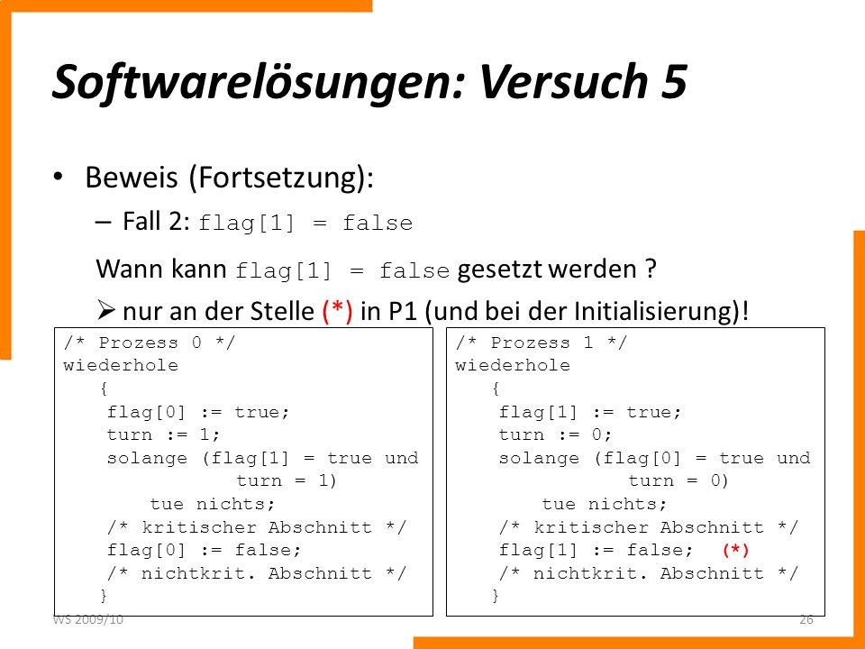 Softwarelösungen: Versuch 5 Beweis (Fortsetzung): – Fall 2: flag[1] = false Wann kann flag[1] = false gesetzt werden ? nur an der Stelle (*) in P1 (un