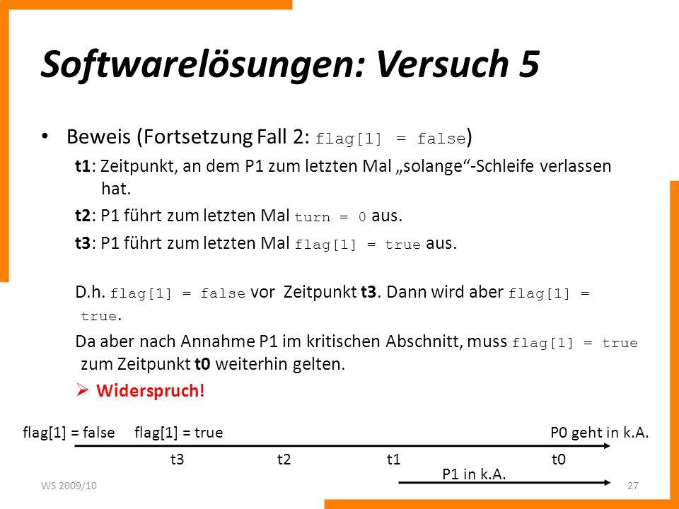 Softwarelösungen: Versuch 5 Beweis (Fortsetzung Fall 2: flag[1] = false ) t1: Zeitpunkt, an dem P1 zum letzten Mal solange-Schleife verlassen hat. t2: