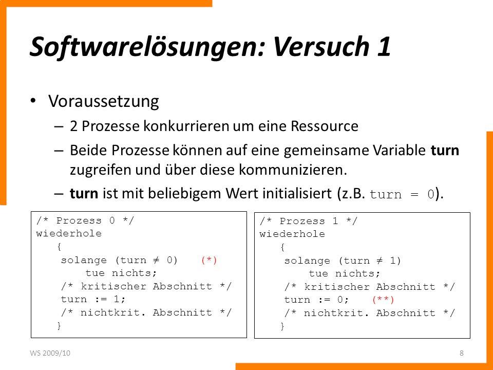 Softwarelösungen: Zwischenergebnis Anforderung zu früh – Deadlock (Versuch 3) Anforderung zu spät – kein wechselseitiger Ausschluss, kritischer Wettlauf (Versuch 2) WS 2009/1019