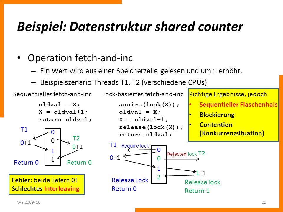 Probleme einfacher lock-basierter shared counter 1.
