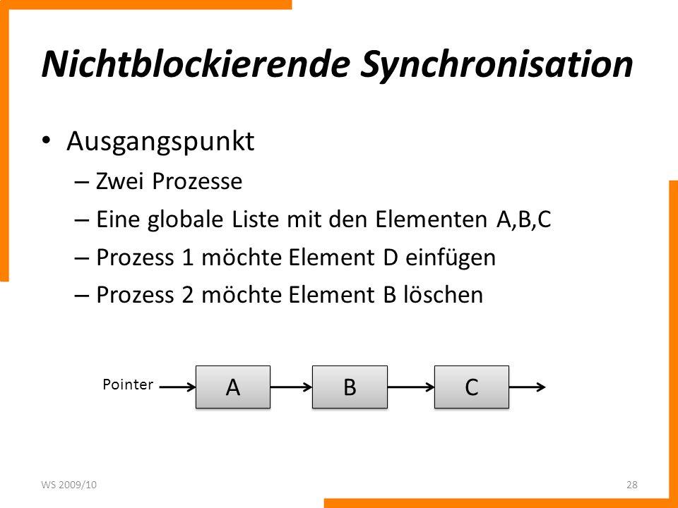 Nichtblockierende Synchronisation Prozess 1 und Prozess 2 erzeugen jeweils eine private Kopie der Liste WS 2009/1029 A A B B C C Pointer A A B B C C Process 1 A A C C Process 2 D D