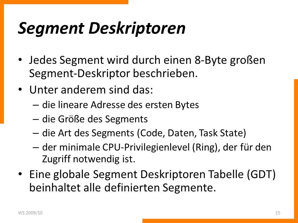 Segment Deskriptoren Jedes Segment wird durch einen 8-Byte großen Segment-Deskriptor beschrieben. Unter anderem sind das: – die lineare Adresse des er