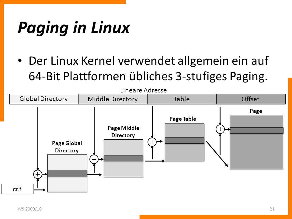 Paging in Linux Der Linux Kernel verwendet allgemein ein auf 64-Bit Plattformen übliches 3-stufiges Paging. WS 2009/1021 Middle Directory Table Offset