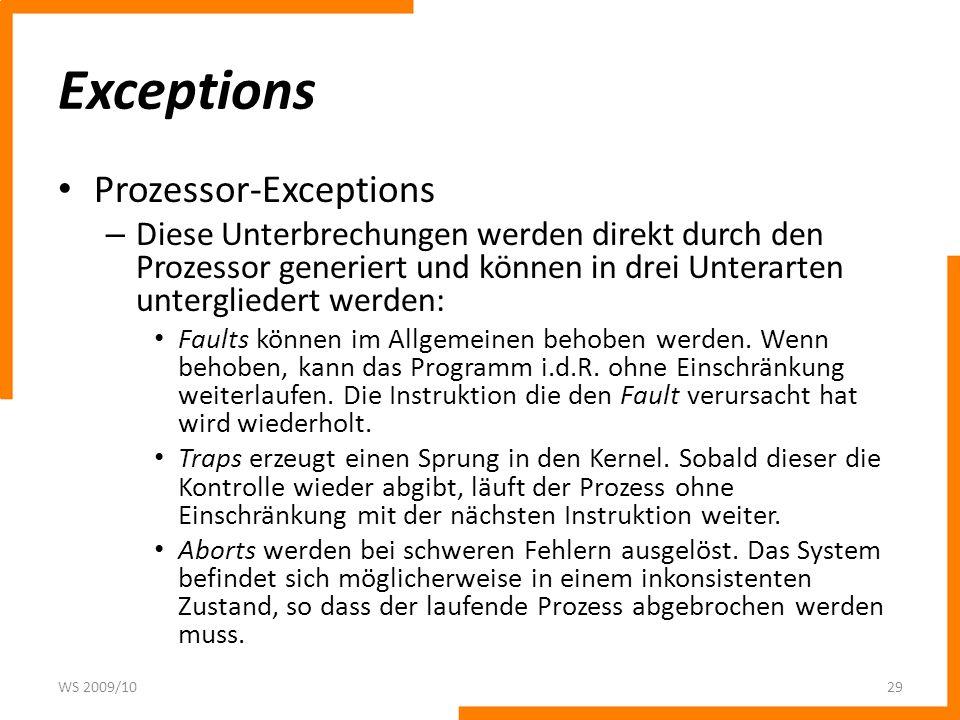 Exceptions Prozessor-Exceptions – Diese Unterbrechungen werden direkt durch den Prozessor generiert und können in drei Unterarten untergliedert werden