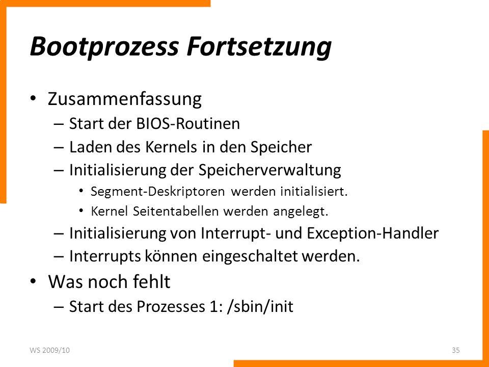 Bootprozess Fortsetzung Zusammenfassung – Start der BIOS-Routinen – Laden des Kernels in den Speicher – Initialisierung der Speicherverwaltung Segment