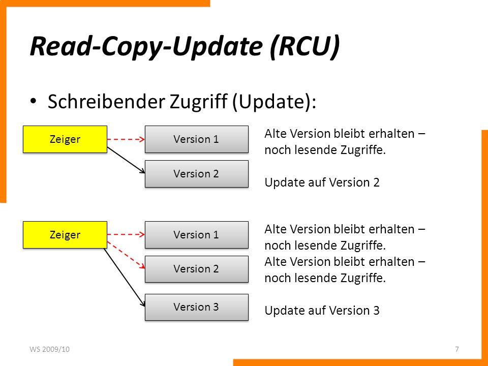Read-Copy-Update (RCU) Schreibender Zugriff (Update): WS 2009/107 Zeiger Version 1 Version 2 Alte Version bleibt erhalten – noch lesende Zugriffe. Upd
