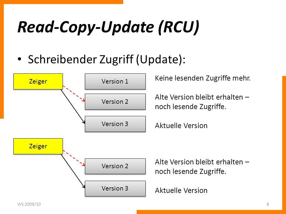 Read-Copy-Update (RCU) Schreibender Zugriff (Update): WS 2009/108 Zeiger Version 1 Version 2 Keine lesenden Zugriffe mehr. Alte Version bleibt erhalte