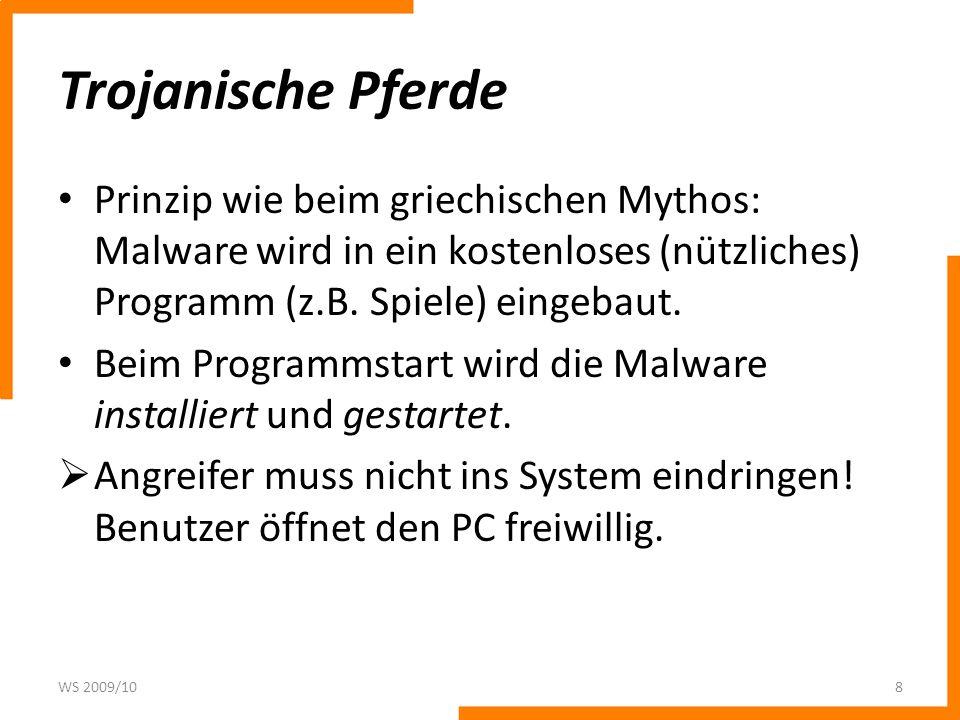 Viren Definition: Ein Virus ist ein Programm (meistens in Assembler oder C geschrieben), dass sich vervielfältigt, indem es sich an den Code von anderen Programmen anhängt.