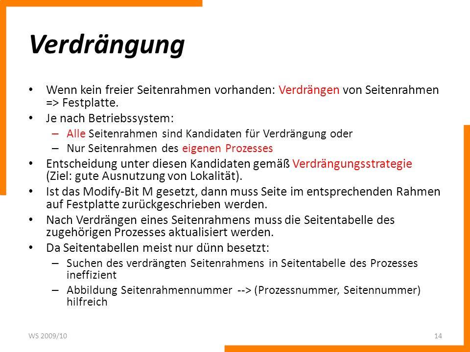 Verdrängung Wenn kein freier Seitenrahmen vorhanden: Verdrängen von Seitenrahmen => Festplatte. Je nach Betriebssystem: – Alle Seitenrahmen sind Kandi