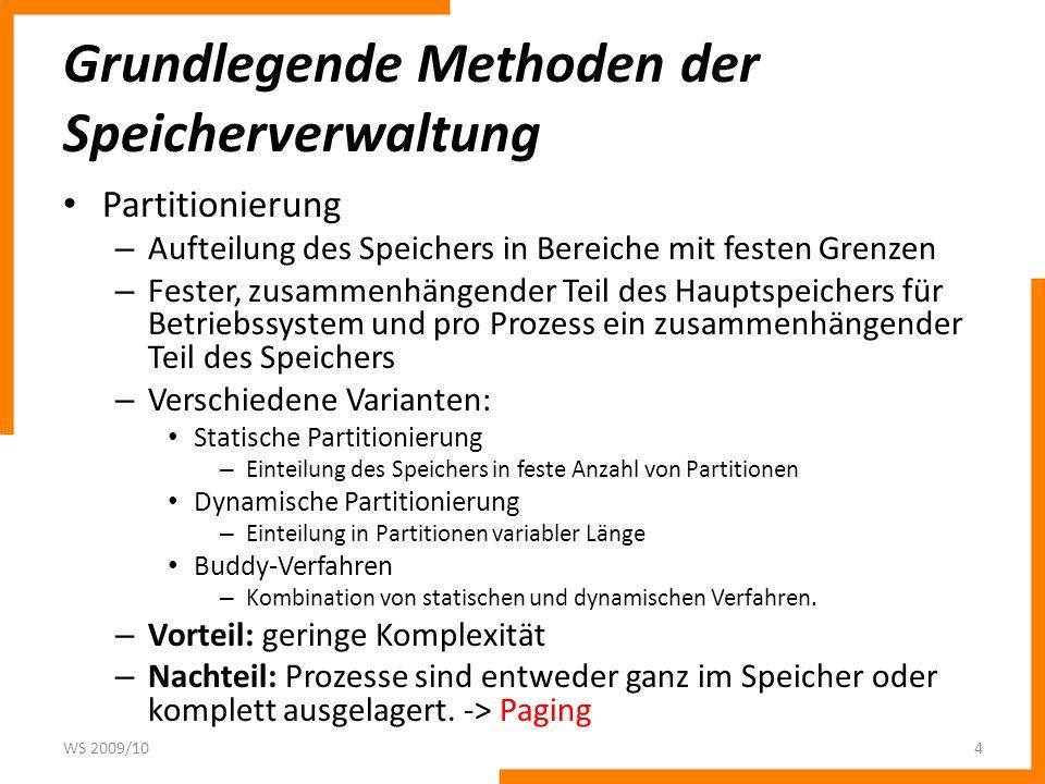 Grundlegende Methoden der Speicherverwaltung Partitionierung – Aufteilung des Speichers in Bereiche mit festen Grenzen – Fester, zusammenhängender Tei