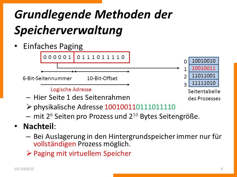Grundlegende Methoden der Speicherverwaltung Einfaches Paging – Hier Seite 1 des Seitenrahmen physikalische Adresse 100100110111011110 – mit 2 6 Seite