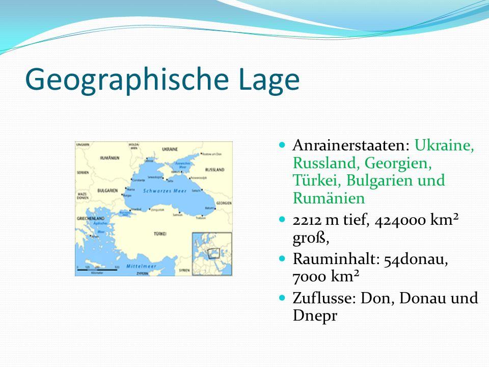 Geographische Lage Anrainerstaaten: Ukraine, Russland, Georgien, Türkei, Bulgarien und Rumänien 2212 m tief, 424000 km² groß, Rauminhalt: 54donau, 700