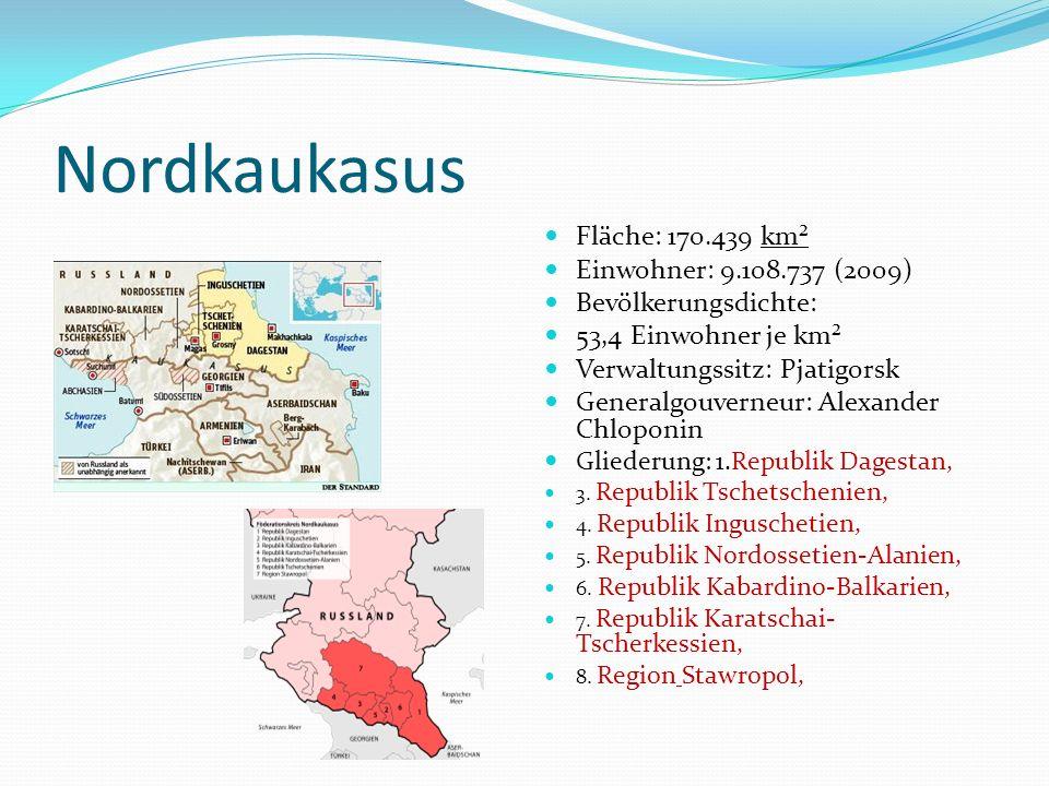 Region Stawropol Russ.: Ставропольский край (Stavropol´skij kraj) Fläche: 66.160 km² Höhe des Zentrums 550 m Bevölkerung 2.711.198 Einw.