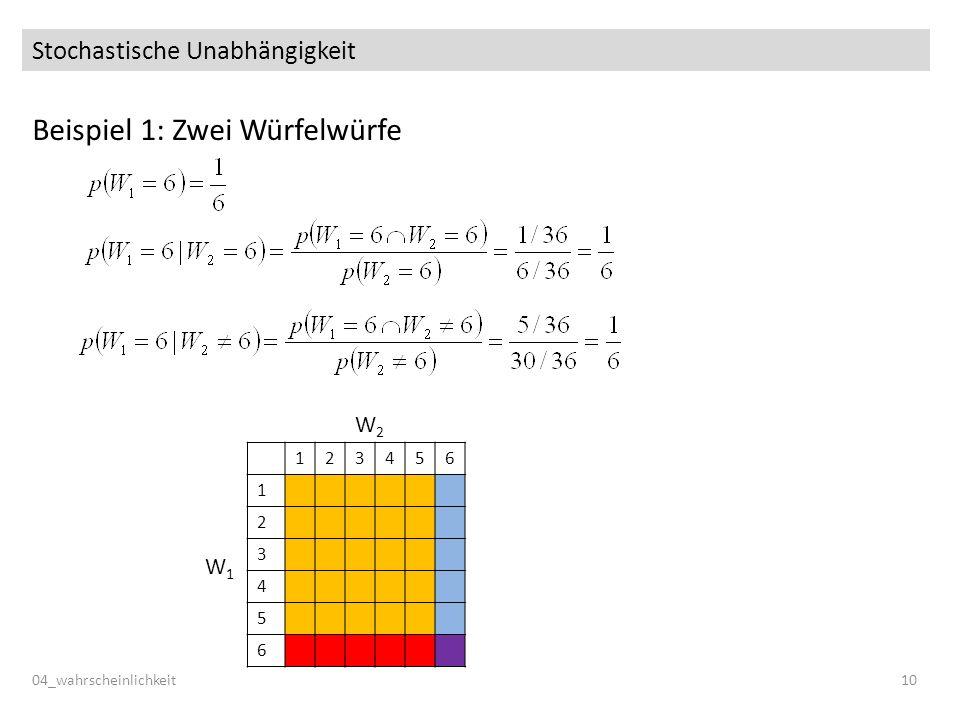 Stochastische Unabhängigkeit Beispiel 1: Zwei Würfelwürfe 04_wahrscheinlichkeit10 123456 1 2 3 4 5 6 W1W1 W2W2