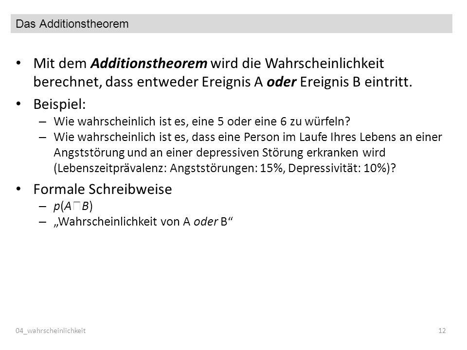 Das Additionstheorem Mit dem Additionstheorem wird die Wahrscheinlichkeit berechnet, dass entweder Ereignis A oder Ereignis B eintritt. Beispiel: – Wi