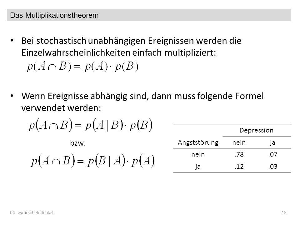 Das Multiplikationstheorem Bei stochastisch unabhängigen Ereignissen werden die Einzelwahrscheinlichkeiten einfach multipliziert: Wenn Ereignisse abhängig sind, dann muss folgende Formel verwendet werden: bzw.
