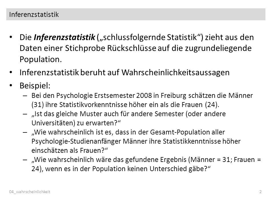 Inferenzstatistik Die Inferenzstatistik (schlussfolgernde Statistik) zieht aus den Daten einer Stichprobe Rückschlüsse auf die zugrundeliegende Popula