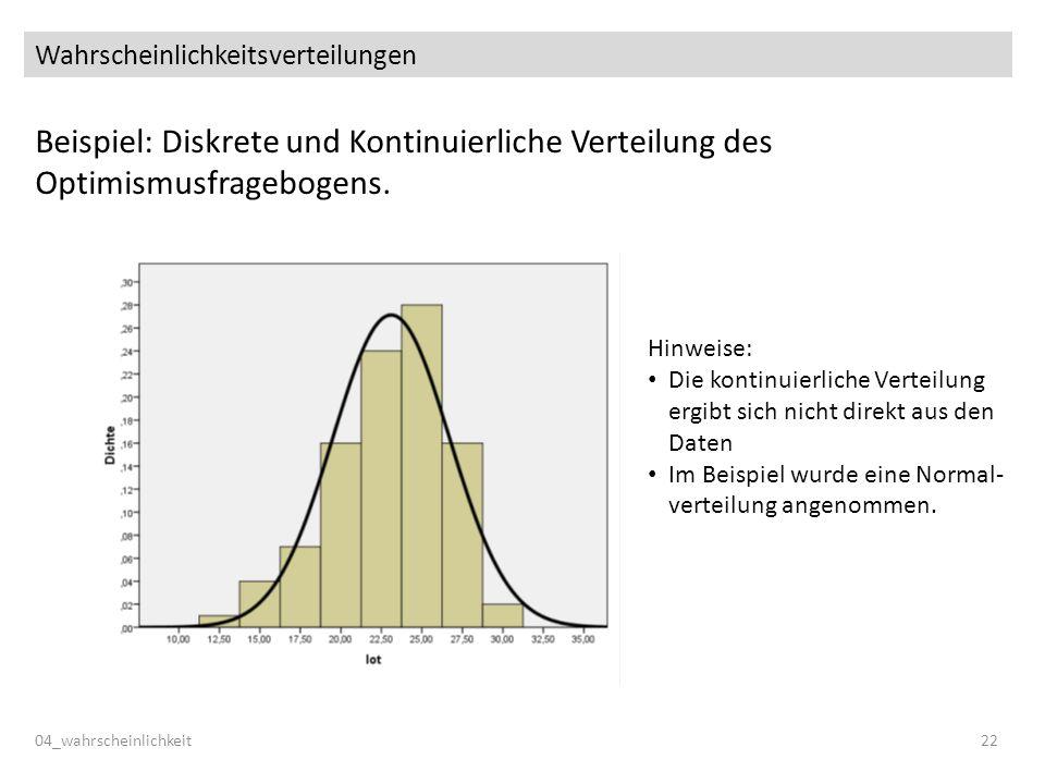Wahrscheinlichkeitsverteilungen Beispiel: Diskrete und Kontinuierliche Verteilung des Optimismusfragebogens. 04_wahrscheinlichkeit22 Hinweise: Die kon