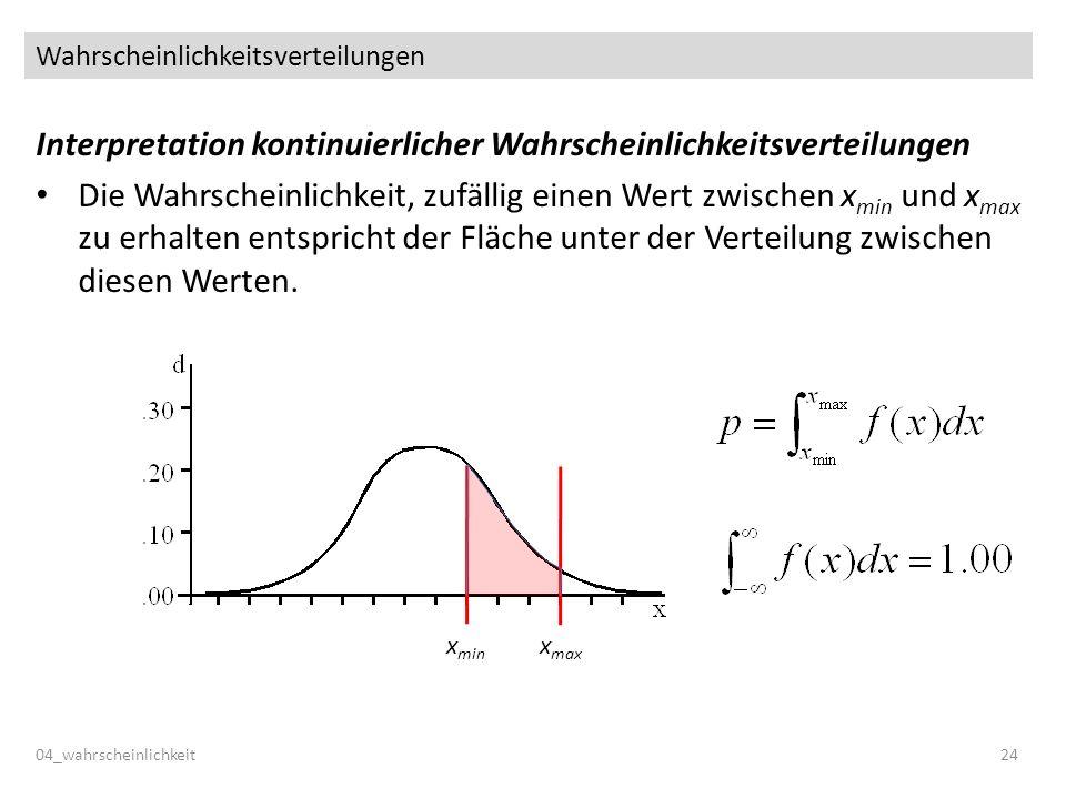 Wahrscheinlichkeitsverteilungen Interpretation kontinuierlicher Wahrscheinlichkeitsverteilungen Die Wahrscheinlichkeit, zufällig einen Wert zwischen x min und x max zu erhalten entspricht der Fläche unter der Verteilung zwischen diesen Werten.