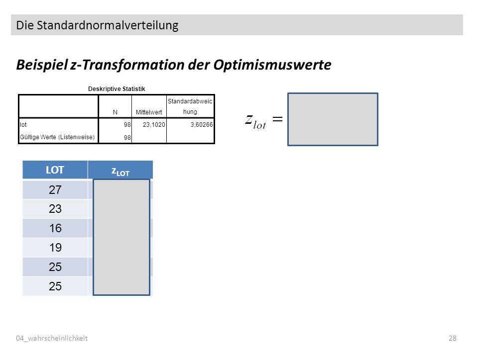 Die Standardnormalverteilung Beispiel z-Transformation der Optimismuswerte 04_wahrscheinlichkeit28 Deskriptive Statistik NMittelwert Standardabweic hung lot 9823,10203,60266 Gültige Werte (Listenweise) 98 LOTz LOT 271.08 23-0.03 16-1.97 19-1.14 250.53 250.53