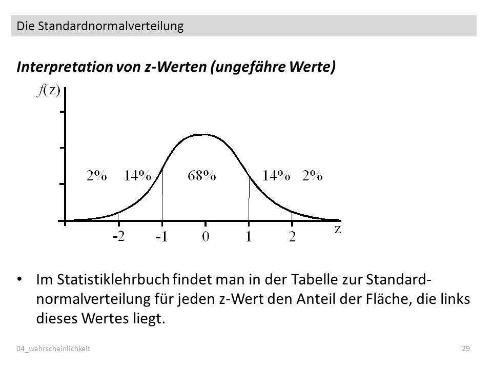 Die Standardnormalverteilung Interpretation von z-Werten (ungefähre Werte) Im Statistiklehrbuch findet man in der Tabelle zur Standard- normalverteilung für jeden z-Wert den Anteil der Fläche, die links dieses Wertes liegt.