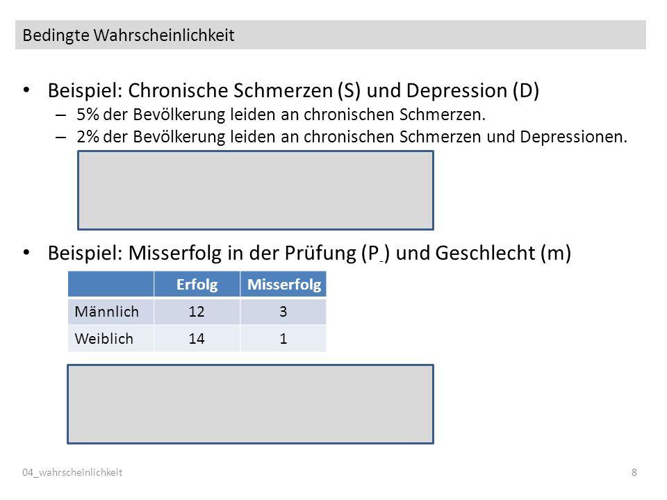 Bedingte Wahrscheinlichkeit Beispiel: Chronische Schmerzen (S) und Depression (D) – 5% der Bevölkerung leiden an chronischen Schmerzen. – 2% der Bevöl