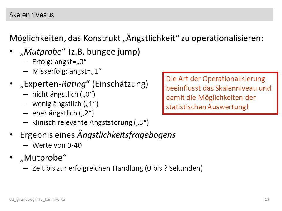 Skalenniveaus Möglichkeiten, das Konstrukt Ängstlichkeit zu operationalisieren: Mutprobe (z.B. bungee jump) – Erfolg: angst=0 – Misserfolg: angst=1 Ex