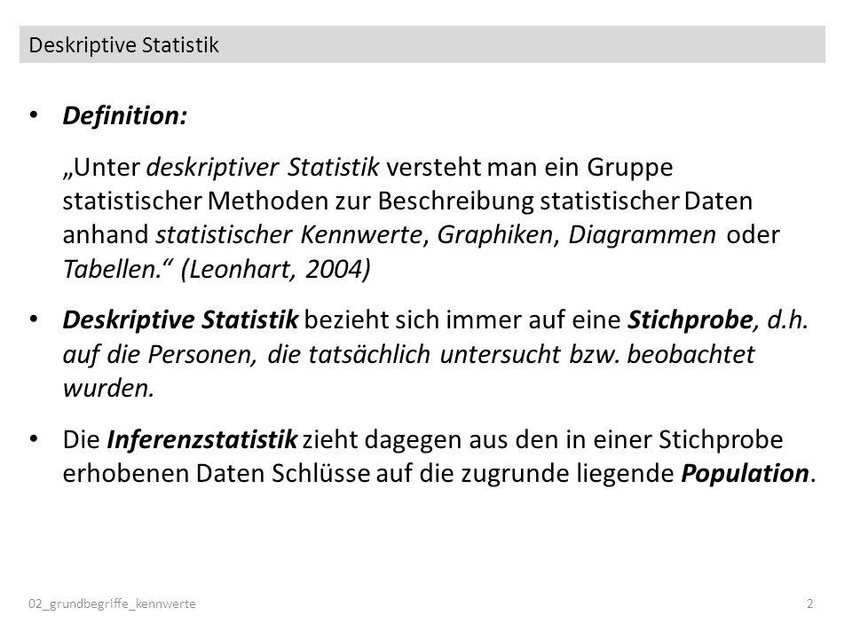 Deskriptive Statistik 02_grundbegriffe_kennwerte2 Definition: Unter deskriptiver Statistik versteht man ein Gruppe statistischer Methoden zur Beschrei